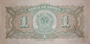 1 Cruzeiro (reuse of the 1 Mil Réis banknote) – revers