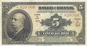 Non verified sheet, non verified year list 5 Mil Réis (4th Banco do Brasil; 1st print) – avers