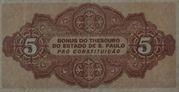 5 Mil Réis (1932 Revolution Bonus; 2nd print) – revers