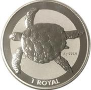 1 royal - Elizabeth II (Tortue de mer) – revers
