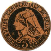 5 centimes - Union commerciale de Brive [19] – avers