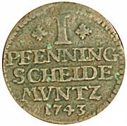 1 Pfenning - George II August – revers