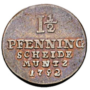 1½ Pfenning - George III – revers