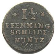 1-1/2 Pfennig - Georg II Wilhelm – revers