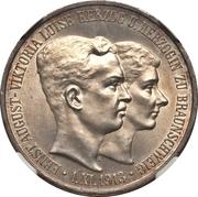 3 mark Ernst August (Mariage avec Viktoria Luise) – avers