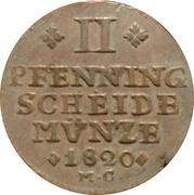 2 pfenning Karl II. – revers