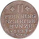 2 pfenning Karl II – revers