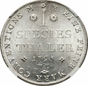 1 Thaler - Karl Wilhelm Ferdinand – revers
