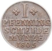 1 pfenning - Karl Wilhelm Ferdinand – revers