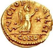 1 tremissis Sigismond / Au nom de Justin I, 518-527 (Lugdunum/Lyon) – revers