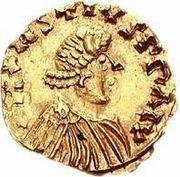 1 tremissis Godomar II / Au nom de Justin I, 518-527 (Lugdunum/Lyon; avec lettre à gauche) – avers