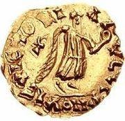 1 tremissis Godomar II / Au nom de Justin I, 518-527 (Lugdunum/Lyon; avec lettre à gauche) – revers