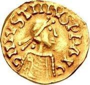 1 tremissis Godomar II / Au nom de Justin I, 518-527 (Lugdunum/Lyon; avec monogramme à droite) – avers