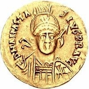 1 solidus Gondebaud / Au nom d'Anastase I, 491-518 (Lugdunum/Lyon; avec monogramme) – avers