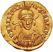 1 solidus Gondebaud / Au nom d'Anastase I, 491-518 (Lugdunum/Lyon; sans monogramme) – avers