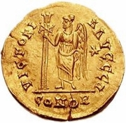 1 solidus Gondebaud / Au nom d'Anastase I, 491-518 (Lugdunum/Lyon; sans monogramme) – revers
