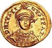 1 solidus Sigismond / Au nom de Justin I, 518-527 (Lugdunum/Lyon) – avers