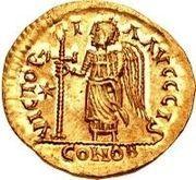 1 solidus Sigismond / Au nom de Justin I, 518-527 (Lugdunum/Lyon) – revers