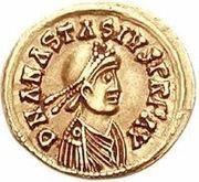 1 tremissis Godégisile / Au nom d'Anastase I, 491-518 (Lugdunum/Lyon) – avers