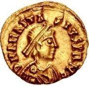 1 tremissis Gondebaud / Au nom d'Anastase I, 491-518 (Lugdunum/Lyon) – avers