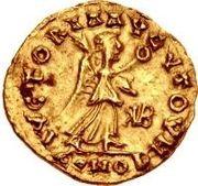 1 tremissis Gondebaud / Au nom d'Anastase I, 491-518 (Lugdunum/Lyon) – revers