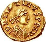 1 tremissis Sigismond / Au nom de Justin I, 518-527 (Lugdunum/Lyon) – avers