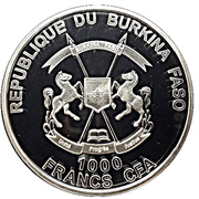 1000 Francs CFA (Red Deer Stag) – avers