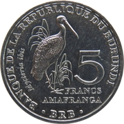 5 Francs (Mycteria ibis) – revers