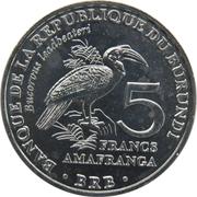 5 Francs (Bucorvus leadbeateri) – revers