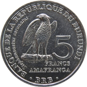 5 francs (Stephanoaetus coronatus) – revers