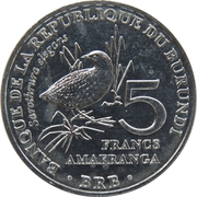 5 francs (Sarothrura elegans) – revers