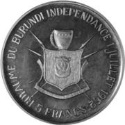 5 Francs - Mwambutsa IV (Indépendance) – revers