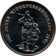 4 riels (700° anniversaire de l'unité Suisse) – revers