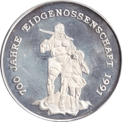 20 riels (700 ans de l'Ancienne Confédération suisse) – revers