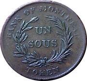 """1 Sous (Banque de Montréal - """"Bank of Montréal"""" - """"TOKEN"""") – revers"""