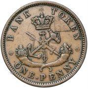 1 penny - Banque du Haut Canada -  revers