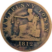 ½ Penny (Tiffin Token - Laiton) – revers