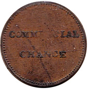 1/2 penny (commercial change / small bust) – revers