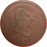 1/2 Penny (seated justice) – avers