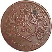 1 Sou (Banque du Peuple - Sou de la Rébellion) – revers