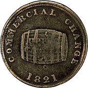 ½ Penny (Sloop Token - Commercial Change, Cask) – avers