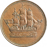 """½ Penny (""""Ships, Colonies"""") – avers"""