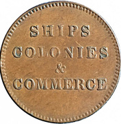 """½ Penny (""""Ships, Colonies"""") – revers"""