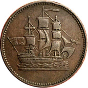 1/2 penny (ships colonies & commerce - club knob ampersand) – avers