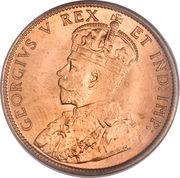 """1 cent Georges V (sans """"DEI GRATIA"""") – avers"""