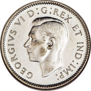 10 cents Georges VI (légende avec IND:IMP:) -  avers