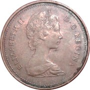 1 cent Elizabeth II (2e effigie, légère) -  avers