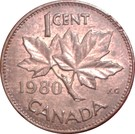 1 cent Elizabeth II (2e effigie, légère) – revers