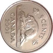 5 cents Elizabeth II (3e effigie, acier plaqué nickel) -  revers