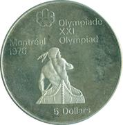 5 dollars Olympiades de Montréal (Canoë) -  revers
